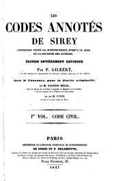 Les codes annotés de Sirey: Code Civil
