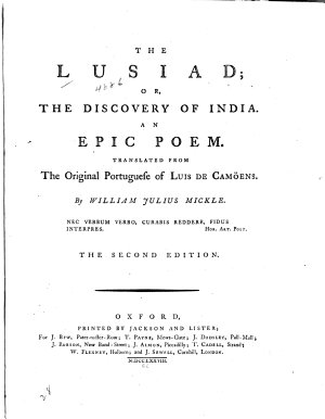 The Lusiad  Or  The Discovery of India PDF
