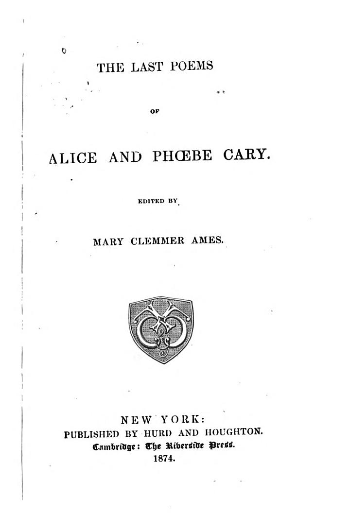 The Last Poems of Alice and Phoebe Cary