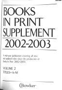Books in Print Supplement  2002 2003 PDF
