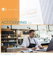 College Accounting, Chapters 1-27: Edition 22