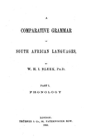 A Comparative Grammar of South African Languages PDF