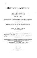 Medical Annals of Baltimore from 1608 to 1880 PDF