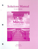 Solutions Manual to Accompany Brealey Myers Marcus
