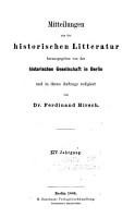 Mitteilungen aus der historischen Literatur PDF