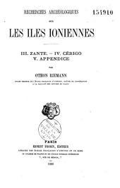 Recherches archéologiques sur les Iles Ioniennes: Volume3