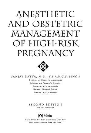 Anesthetic and Obstetric Management of High risk Pregnancy PDF