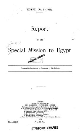 Report of the Special Mission to Egypt PDF