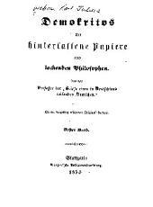 Demokritos, oder, Hinterlassene papiere eines lachenden philosophen: Band 1