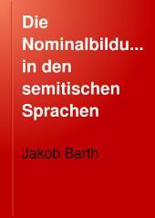 Die Nominalbildung in den semitischen Sprachen: Bände 1-2