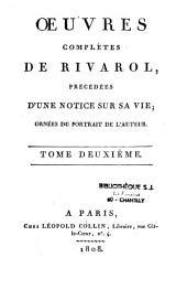 Oeuvres complètes de Rivarol