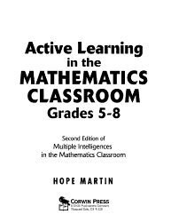 Active Learning In The Mathematics Classroom Grades 5 8 Book PDF