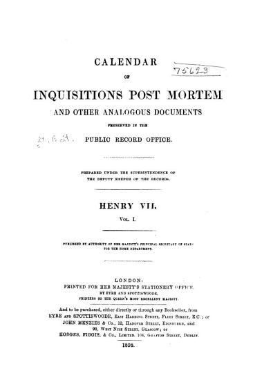 Calendar of Inquisitions Post Mortem and Other Analogous Documents Preserved in the Public Record Office PDF