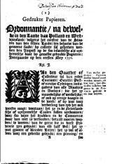 Gedrukte papieren. Ordonnantie, na dewelke in [...] Holland en Westvriesland [...] sal geheeven werden den impost op de [...] gedrukte papieren: innegaande op den eersten mey 1750
