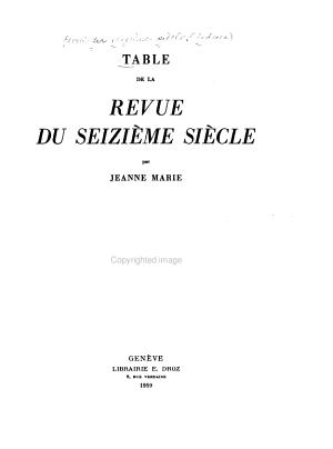 Table de la Revue Du Seizi  me Si  cle