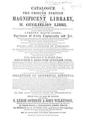 Catalogue of the choicer portion of the ... library formed by M. G. Libri ... which will be sold on Monday, 1st of August ... and twelve following days, etc. [With an introduction by G. Libri.]