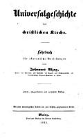 Universalgeschichte der christlichen Kirche  Lehrbuch  2  umgearb  u  verm  Aufl  Mit einer chronologischen Tabelle und zwei kirchlich geographischen Karten PDF