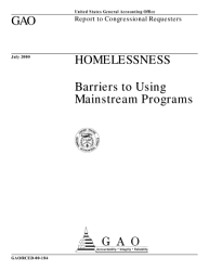 Homelessness Barriers To Using Mainstream Programs Report To Congressional Requesters Book PDF