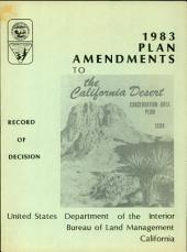 1983 Plan Amendments to the California Desert Conservation Area Plan, 1980: Record of Decision