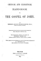 Commentary on the New Testament: Critical and exegetical hand-book to the gospel of John