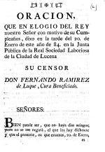 Oracion, que en elogio del Rey ... con motivo de su Cumpleaños, dixo ... Fernando Ramierez de Luque