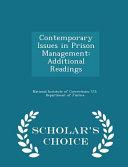 Contemporary Issues in Prison Management