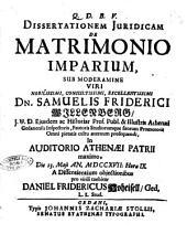 Dissertationem juridicam De matrimonio imparium sub moderamine ... dn. Samuelis Friderici Willenberg, ... die 13. Maji an. 1717 ... pro virili tuebitur Daniel Fridericus Hoheisell, ...