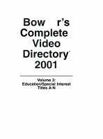 Bowker s Complete Video Directory 2001 PDF
