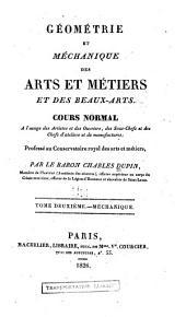Géométrie et méchanique des arts et métiers et des beaux-arts: Volume2