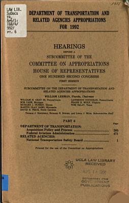 Department of Transportation and Related Agencies Appropriations for 1992  Department of Transportation PDF