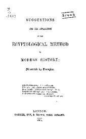 Suggestions for the Application of the Egyptological Method to Modern History