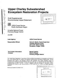 Umatilla National Forest  N F    Upper Charley Subwatershed Ecosystem Restoration Projects PDF