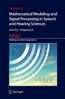 Mathematical Modeling and Signal Processing in Speech and Hearing Sciences PDF