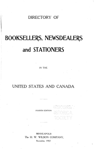 Directory of Booksellers  Newsdealers and Stationers in the United States and Canada PDF