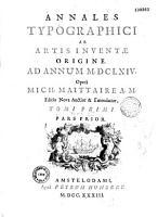 Annales typographici ab artis inventae origine ad annum MD   MDCLXIV  Oper   Mich  Maittaire A M       A Eee4  Fff2  1 f  non sign   Ggg Zzzzz4  Aaaaaa4  Bbbbbb PDF