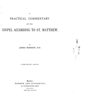 A Practical Commentary on the Gospel According to St  Matthew PDF