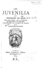 Les juvenilia de Théodore de Bèze