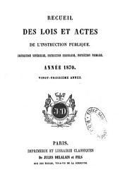 Recueil des lois et actes de l'instruction publique: instruction supérieure, instruction secondaire, instruction primaire