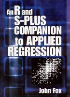 An R and S Plus Companion to Applied Regression PDF