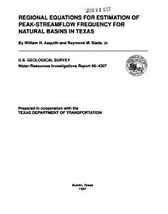 Regional Equations for Estimation of Peak streamflow Frequency for Natural Basins in Texas PDF