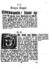 Kleyn zeegel. Ordonnantie, waar op in [...] Holland en Westvriesland [...] by collecte sal worden geheeven het regt van het kleyn zeegel [...] ingaande met den eersten ianuary 1750