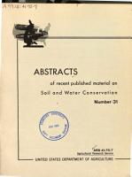 Abstracts of Recent Published Material on Soil and Water Conservation PDF