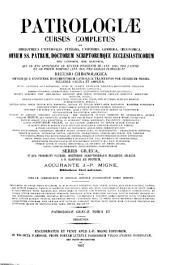 Patrologiae cursus completus ...: Series graeca, Volume 15