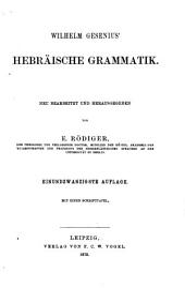 Hebraisches Elementarbuch: Wilhelm Gesenius' Hebraische Grammatik