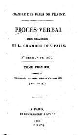 Procès-verbal des séances de la Chambre des Pairs: 1830,1
