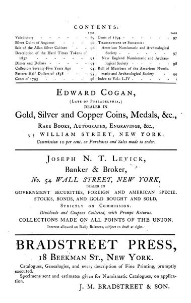 American Journal of Numismatics, and Bulletin of American Numismatic and Archæological Societies