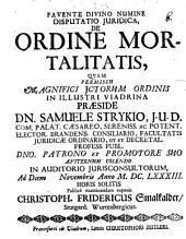Disp. iur. de ordine mortalitatis