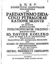 Diss. inaug. philos. de paedantismo didactico Pythagorae ratione silentii