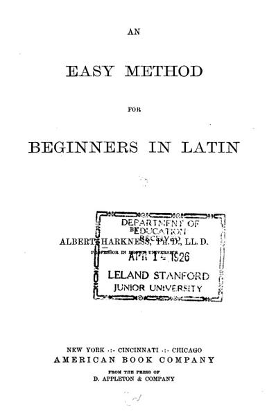 Download An Easy Method for Beginners in Latin Book