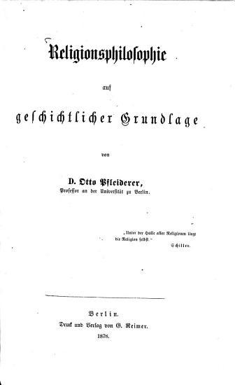 Religionsphilosophie auf geschichtlicher Grundlage PDF